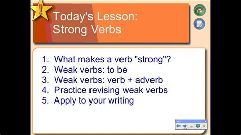 using strong verbs in writing