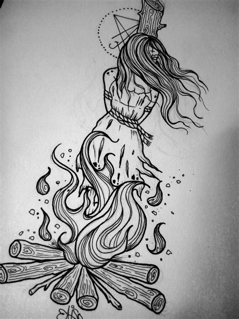witch tattoo designs burning witch drawing search tattoos