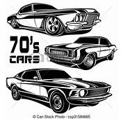 Clip Art Vector Of Cars Muscle 70s  Csp31584665
