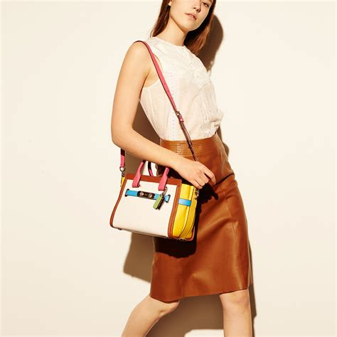 Coach Swagger Carryal Rainbow 23106 coach swagger 27 carryall in rainbow colorblock leather lyst