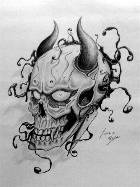 hannya mask and skull tattoo skull hannya by eason41 on deviantart