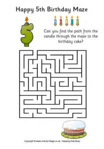 printable maze for 5 year olds 5th birthday maze