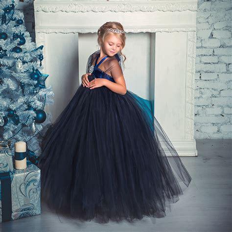 Funkids Varisha Size S Blue newest design navy blue tutu dress with flower evening dresses