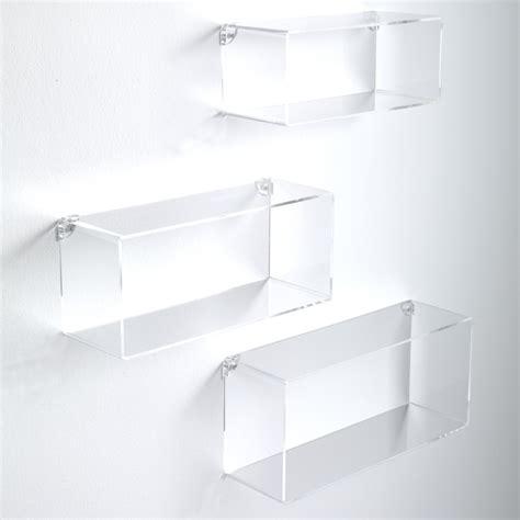 scaffali plexiglass set di 3 cubi mensole klever da parete in metacrilato