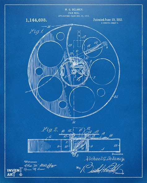 film blueprint 1915 movie film reel patent blueprint digital art by nikki