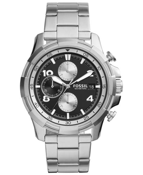 Fossil Silver Combi fossil s chronograph dean stainless steel bracelet 45mm fs5112 in metallic for lyst