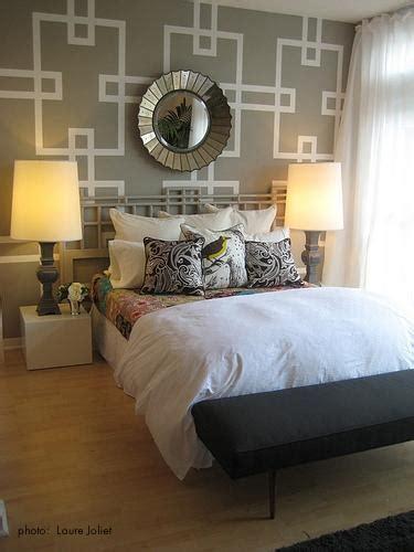 bedroom wall stencils stenciled accent wall contemporary bedroom