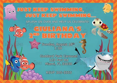 printable nemo birthday invitations printable finding nemo invitation plus free blank matching