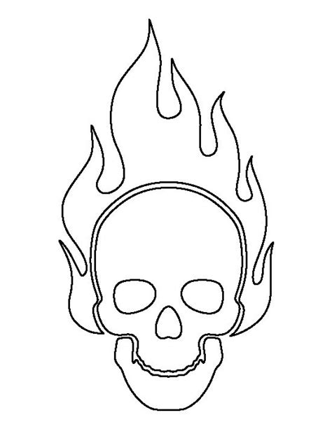 printable skull template flaming skull pattern use the printable outline for