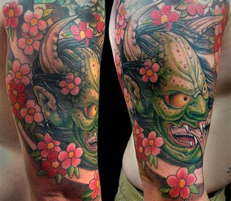 hannya mask cherry blossom tattoo hanya mask tattoo by bart andrews tattoos
