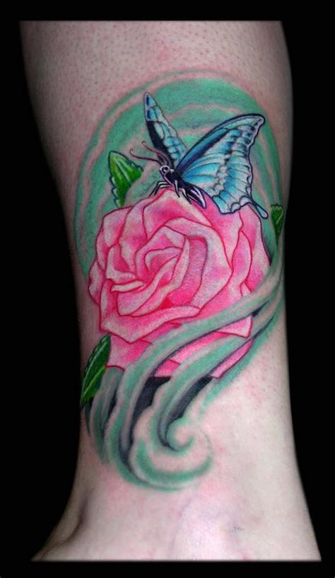 tattoo butterfly and rose butterfly and rose by aaron goolsby tattoos