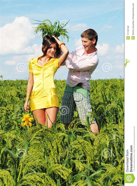 Cauple Senny on field in day royalty free stock photos image 11742148