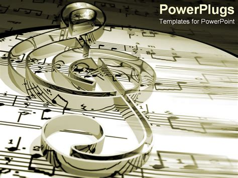 powerpoint template treble clef on music sheets and notes