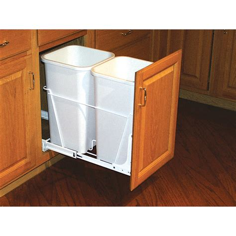 kitchen cabinet garbage can shop rev a shelf 27 quart plastic pull out trash can at