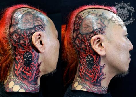 biomechanical tattoo spiderman biomechanical head neck spider web tattoo by tim kerr