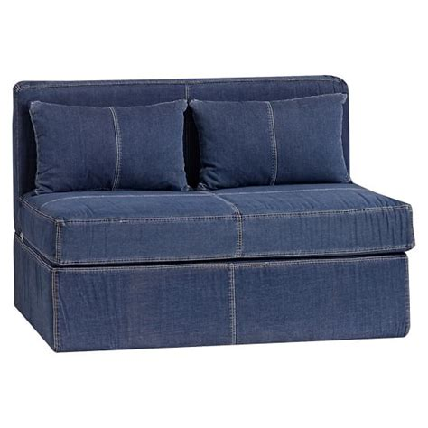 cushy sleeper sofa denim cushy sleeper pbteen