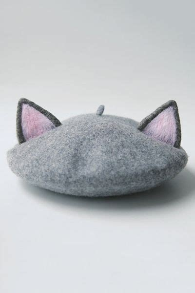 Cat Ear Beret tuibianji gray cat ear felt beret hats at dezzal