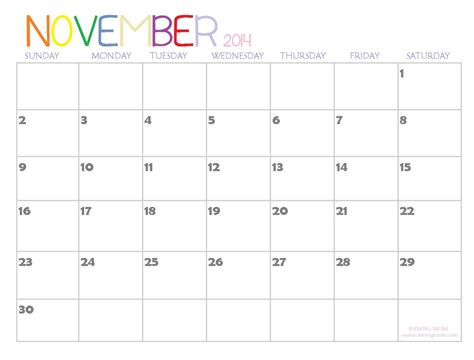 printable calendar 2014 november 7 best images of november 2014 calendar with holidays