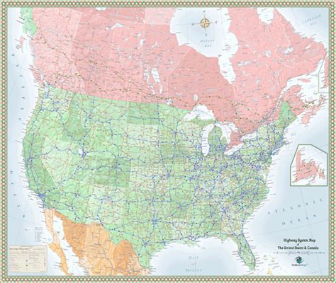 map of the usa and canada canada and usa highway wall map by outlook maps