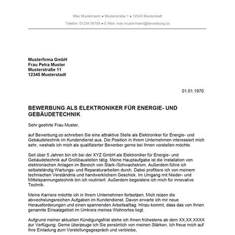 Bewerbung Elektroniker Fur Energie Und Gebaudetechnik Muster Bewerbung Als Elektroniker F 252 R Energie Und Geb 228 Udetechnik Elektronikerin F 252 R Energie Und