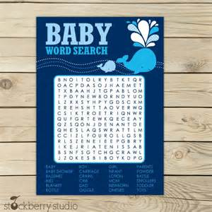 whale baby shower word search printable navy blue baby nautical baby shower