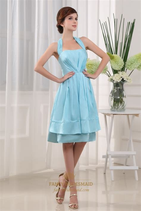 light blue knee length dress light blue knee length prom dress halter knee length