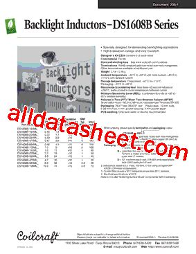 coilcraft inductors datasheet ds1608b 104ml datasheet pdf coilcraft lnc