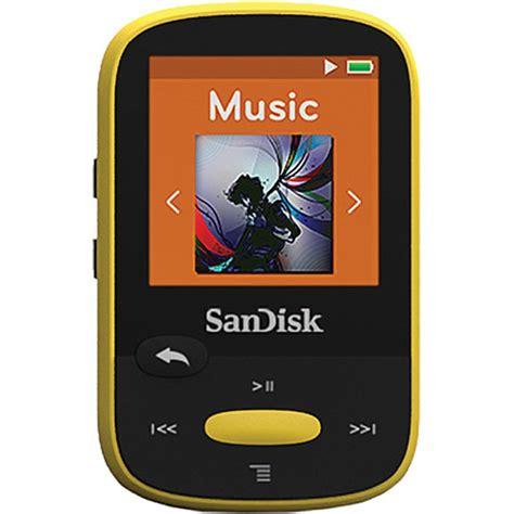 color mp3 sandisk 4gb clip sport mp3 player yellow sdmx24 004g