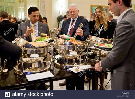 hotel lunch buffet line during a business event usa