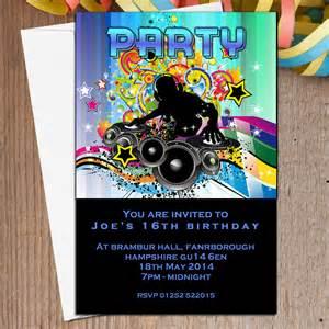 10 personalised disco dj invitations n5