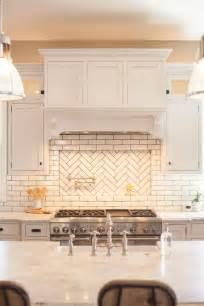 Herringbone Kitchen Backsplash by Glazed Brick Backsplash With Herringbone Pattern Pot