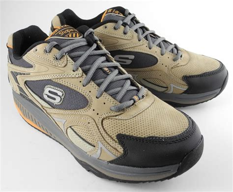 mens skechers shape ups keep fit fitness leather trainers