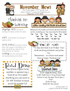 Bunting Books And Bright Ideas Classroom Involvement Linky Party Thanksgiving Newsletter Template Free