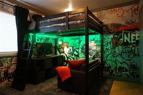 loft bed  graffiti walls teenage boy industrial loft