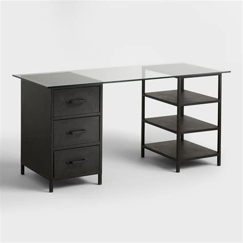 glass top colton mix match desk with shelf and drawers