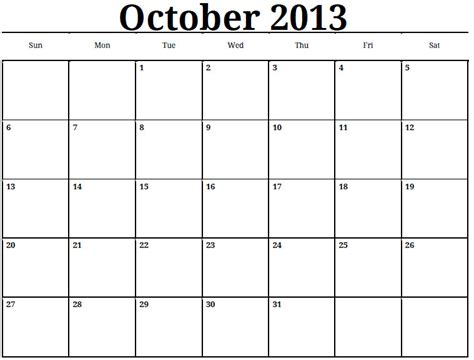 Calendar October 2013 6 Best Images Of October 2013 Calendar Printable Pdf