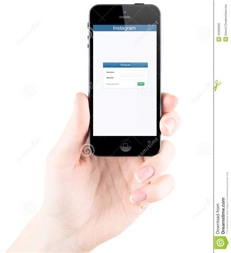 mobile login page m a instagram login page on apple iphone 5s screen editorial
