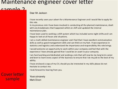 Aircraft Performance Engineer Cover Letter by Maintenance Engineer Cover Letter