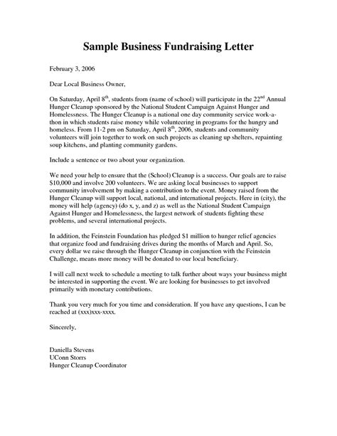 business letter for charity business fundraising letter sle fundraising letters