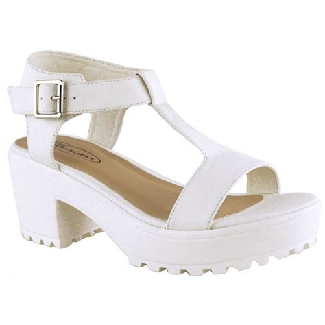 white chunky heel sandals white chunky platform cleated sole block heel sandals