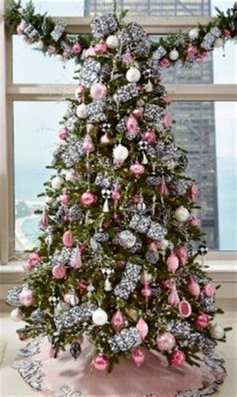 pink and silver tree decorations shiny brite ornaments on a white tree