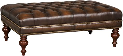 brown leather tufted ottoman kingley brown tufted cocktail leather ottoman from hooker