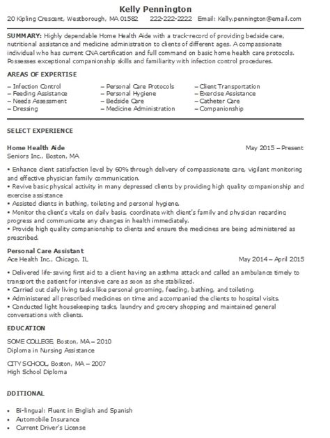 Resume Exles For Health Care Aide Home Health Aide Resume Sle More Experience Home Health Aide