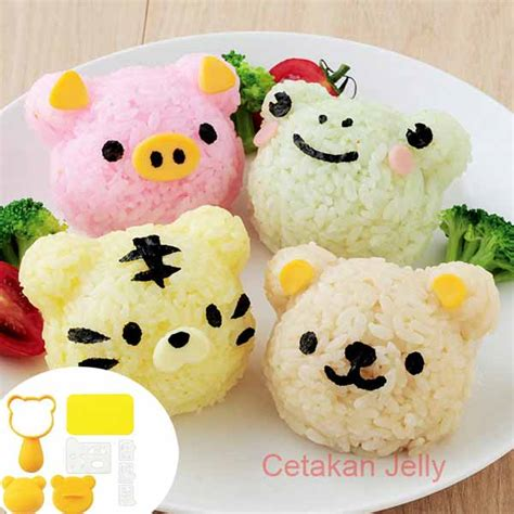 Cetakan Nasi Rice Mold Bento 3 In 1 Hello Bunny 10458 cetakan nasi bento cat frog pig rice mold with cutter 4 in 1 cetakan jelly cetakan