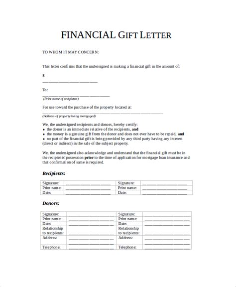 Financial Gift Letter Sle Gift Letter 9 Exles In Word Pdf