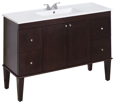 Birch Bathroom Vanity Cabinets by Birch Wood Veneer Vanity Set Antique Walnut 48 Quot X18