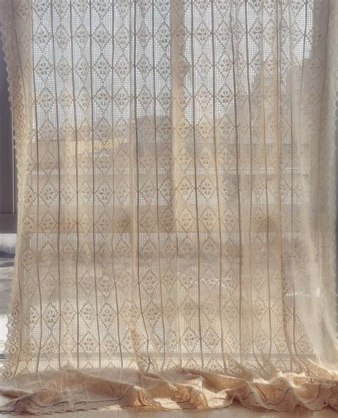 beige lace curtains french cotton linen beige hand crochet hollowed out lace