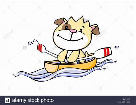 a cartoon dog rowing a boat stock photo royalty free - Boat Dog Cartoon