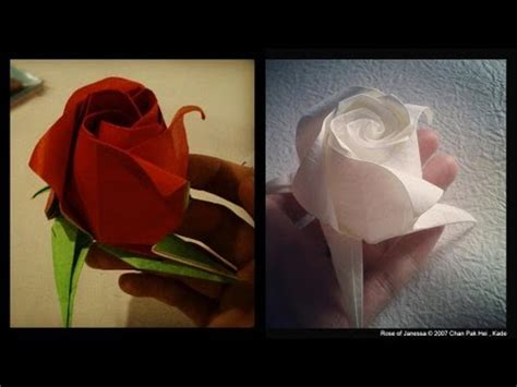 origami rose tutorial youtube origami rose of janessa instruction 摺紙玫瑰花教學 kade chan