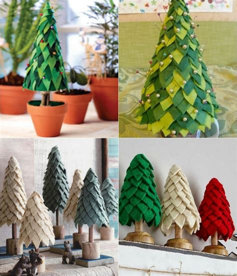 felt christmas trees decorated with pins holidays